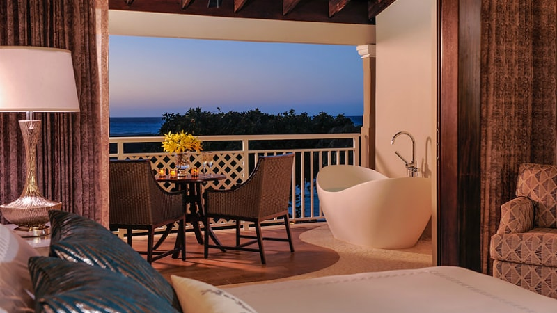 Romeo & Juliet Butler Suite with Balcony Tranquility Soaking Tub at Sandals Royal Caribbean