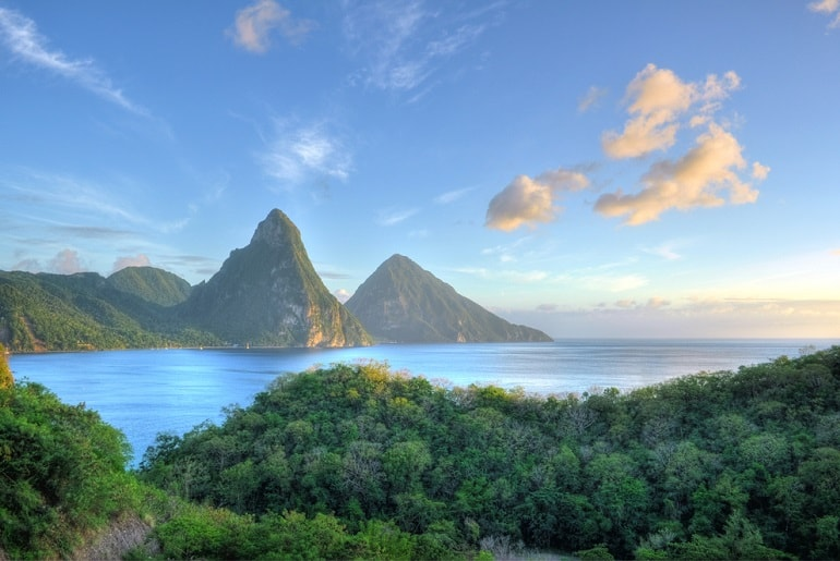 St Lucia Pitons View from land