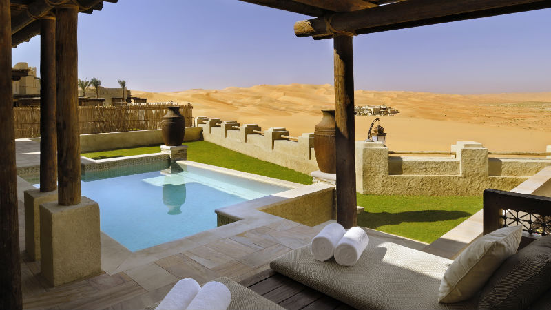 Morning outlook from One Bed Villa private pool - Anantara, Qasr Al Sarab | Just Fly Business