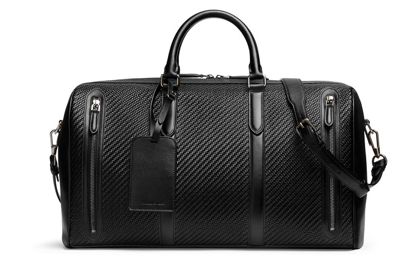 Ermenegildo Zegna Black Pelle Tessuta Holdall | Just Fly Business
