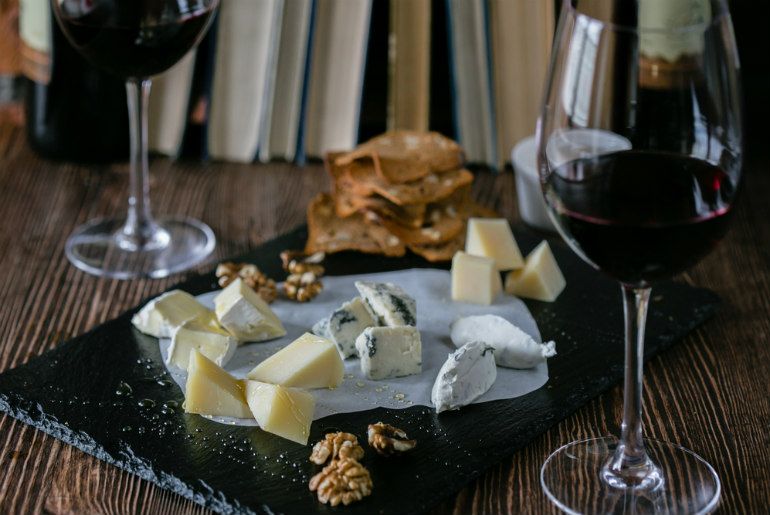 Wine and cheese platter with nuts | Just Fly Business