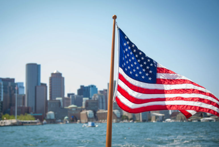 American flag flying with Boston | Just Fly Business