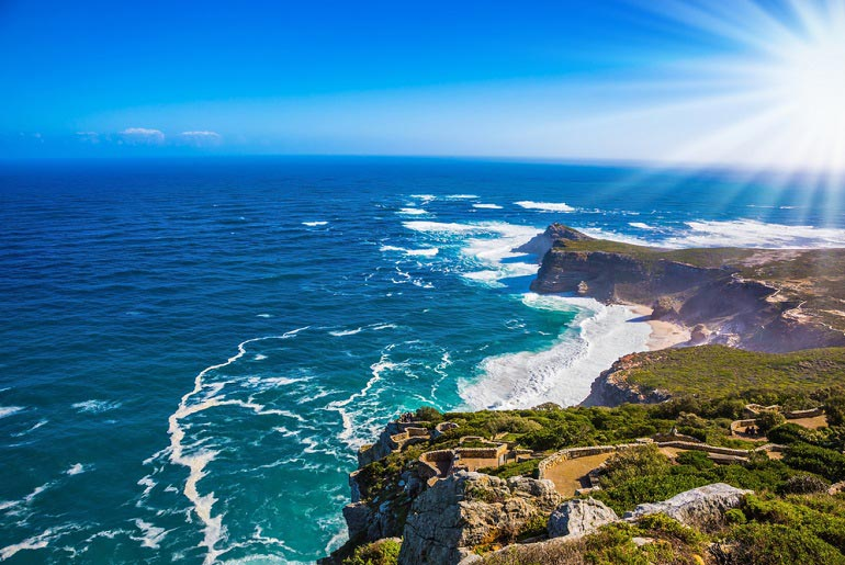 Beautiful view along the coastline towards the Cape of Good Hope