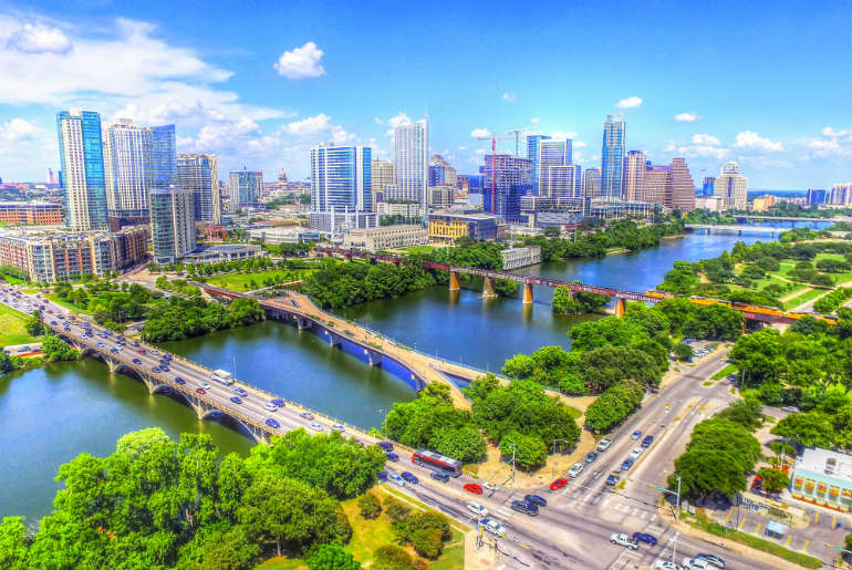 Skyline Aerial View of Austin Texas, USA
