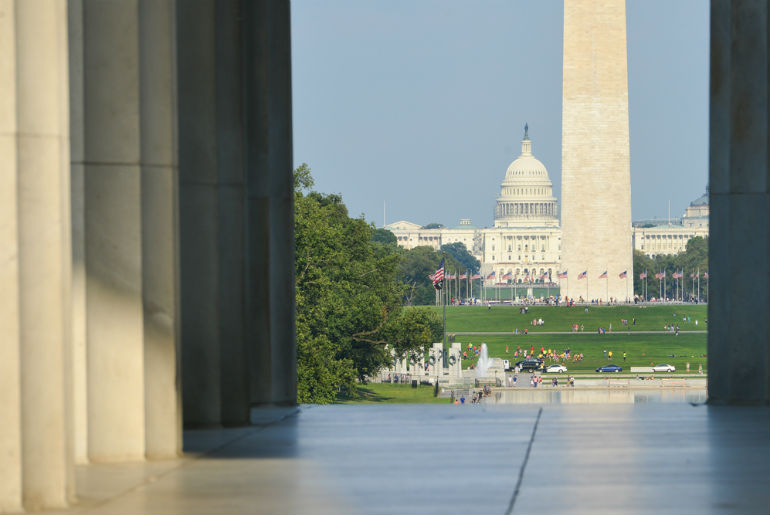 View of Washington D.C - USA Destinations That are Best Experienced in First or Business Class