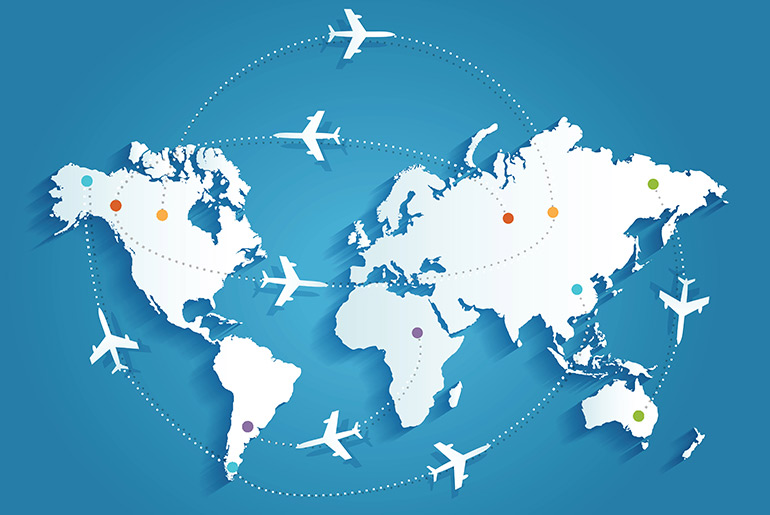 Airplanes trajectories on world map | Just Fly Business