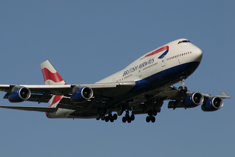 British Airways Boeing 747 in flight. Contains 4 cabins classes including a Club World cabin