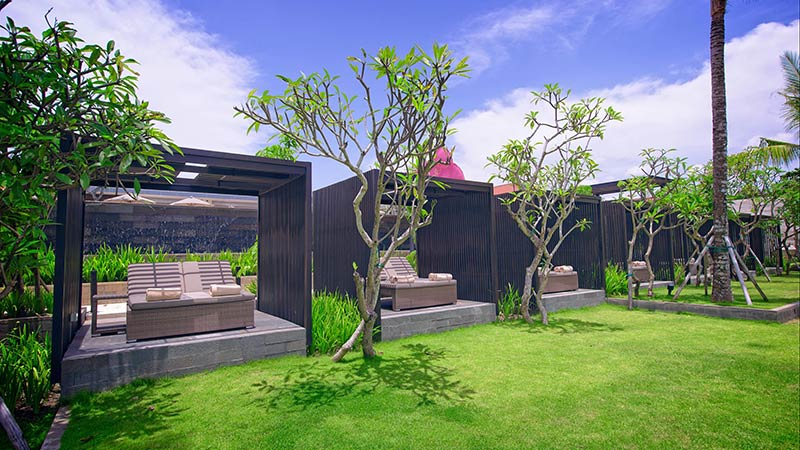 Sun Lounges in cabanas at Fairmont Sanur Beach Hotel in Bali