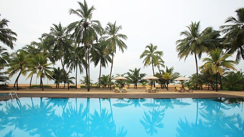 View of the swimming pool at Avani Kalutara Resort, Sri Lanka