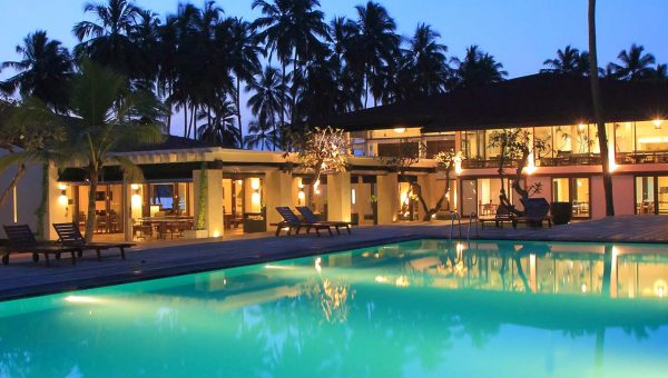Evening View across swimming pool at Avani Kalutara Resort, Sri Lanka
