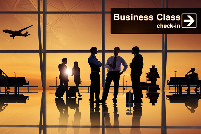 Group of business or first class people waiting at airport