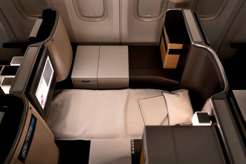 Lie Flat Seat on Swiss Air Business Class | Just Fly Business