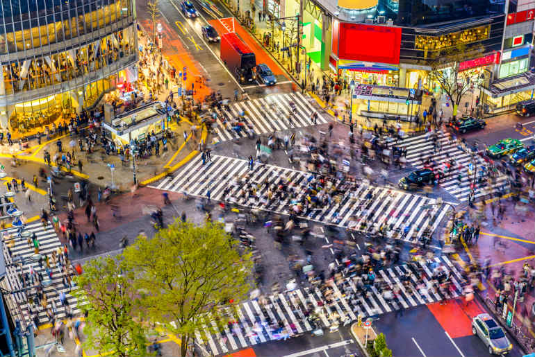 Shibuya Crossing, Tokyo. This is one of the busiest crossings in the world