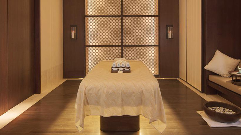 Massage table in the spa at Fairmont Sanur Beach Hotel in Bali