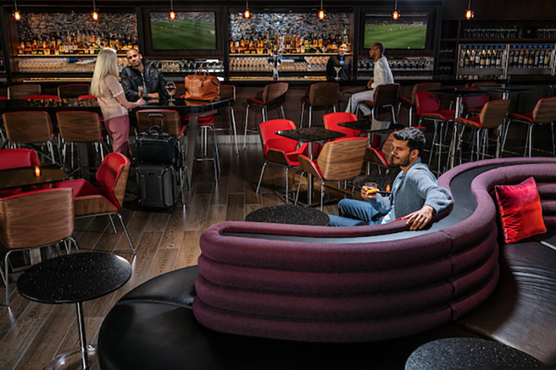 Passengers relaxing in Delta's Sky Club Lounge in Atlanta