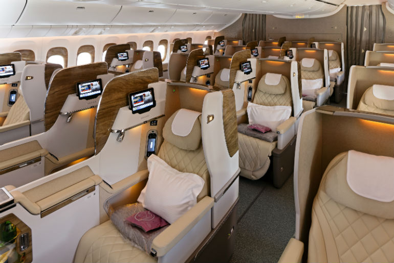 Emirates business class cabin on a B777-300
