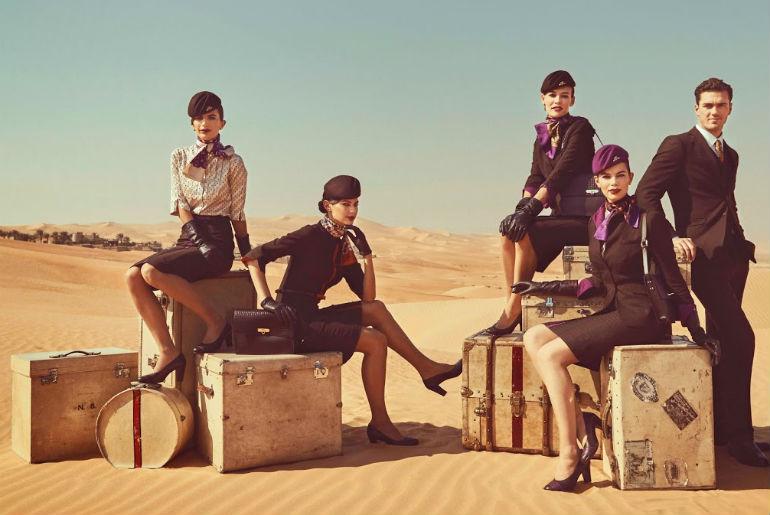 Etihad cabin crew picture taken in the desert