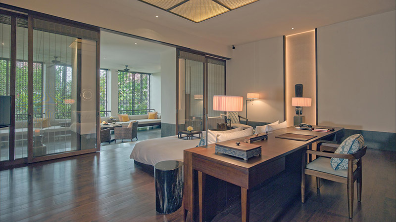 Bedroom leading out to living area of the Deluxe Garden View Suite at the Fairmont Sanur Beach, Bali