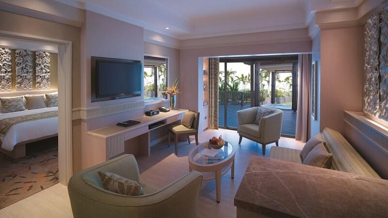 The deluxe sea view suite at Shangri La Rasa Sentosa and Resort & Spa, Singapore