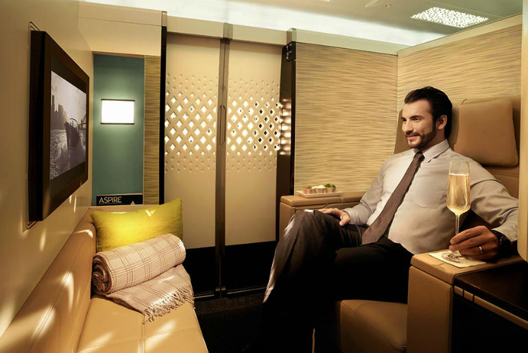 A man travelling on Etihad Airways First Class Apartment