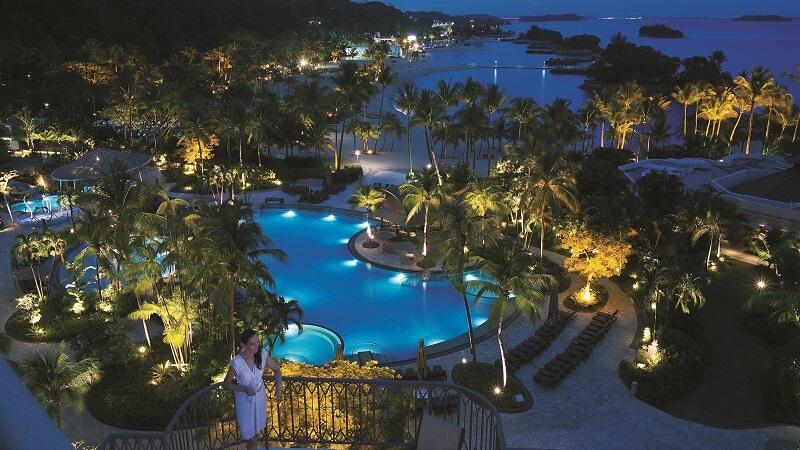Pool night shot at Shangri La Rasa Sentosa Resort & Spa, Singapore