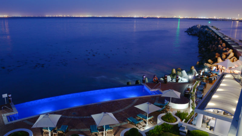 Night time pool view at the Radisson Blu Hotel Waterfront,Cape Town