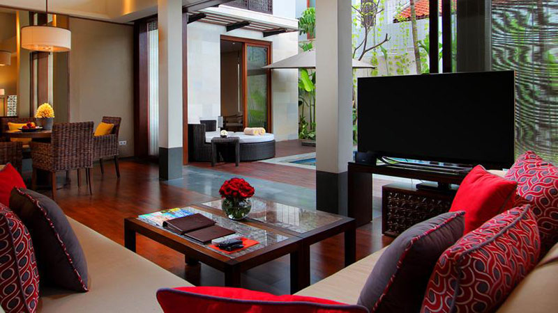 Living area of the One Bedroom Pool Villa at the Fairmont Sanur Beach, Bali