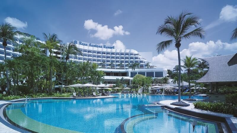Overview of hotel and pool at Shangri La Rasa Sentosa Resort & Spa, Singapore