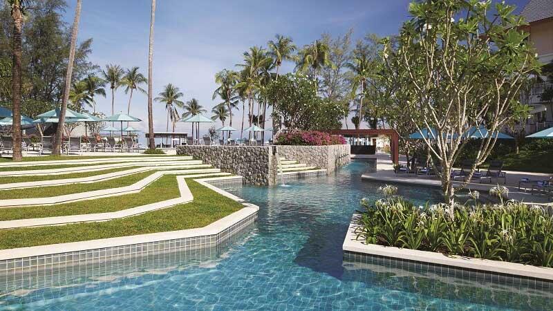Swimming pool view at Outrigger Laguna Phuket, Thailand