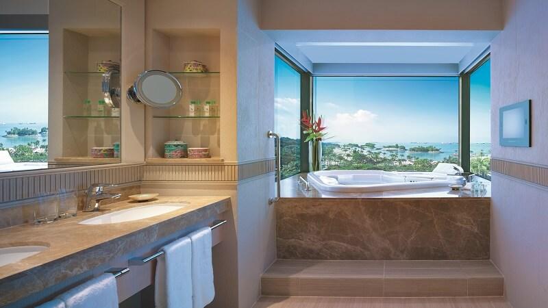 Bathroom and sea view in the Sentosa Suite at Shangri La Rasa Sentosa Resort & Spa, Singapore