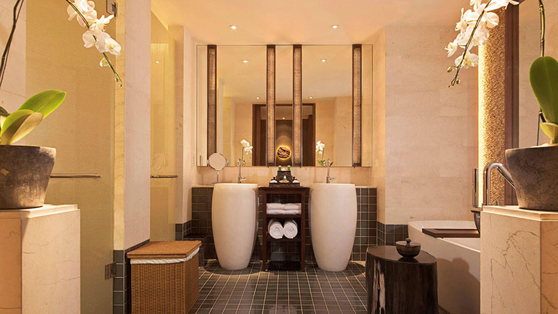 Double vanity in the luxurious bathroom of the Signature Spa Suite at the Fairmont Sanur Beach, Bali