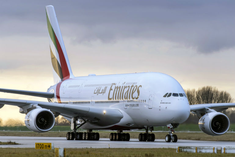 Emirates 380 Air bus aircraft on the runway ready to take off