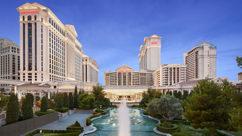 Exterior of Caesars Palace in Las Vegas showing the fountains
