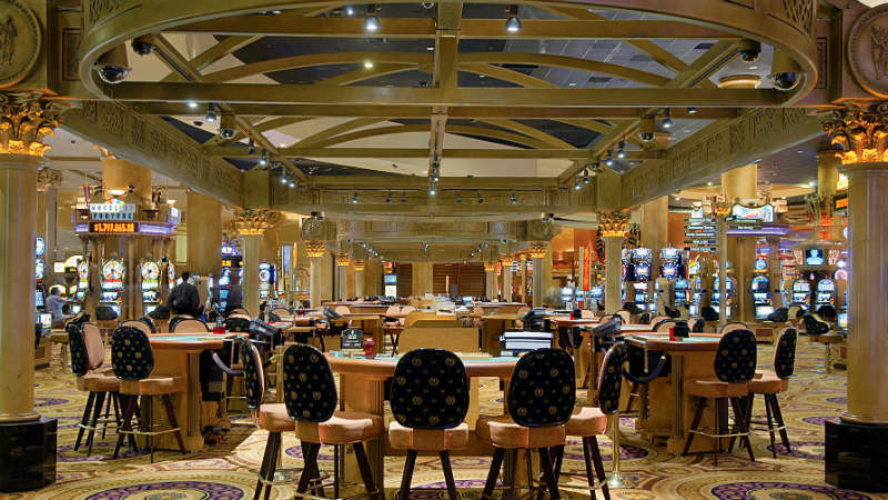 Casino floor with gaming tables at Caesars Palace Las Vegas