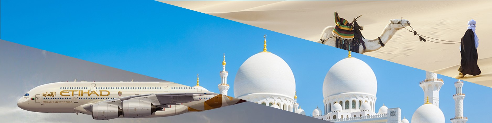 Etihad A380 with the Sheikh Zayed Mosque and camels in the desert near Abu Dhabi