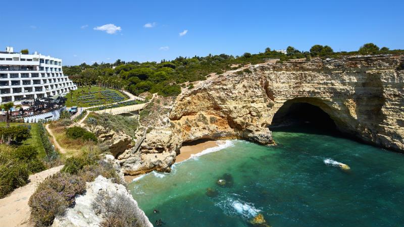 A wide exterior view of the Tivoli Carvoeiro Algarve Resort