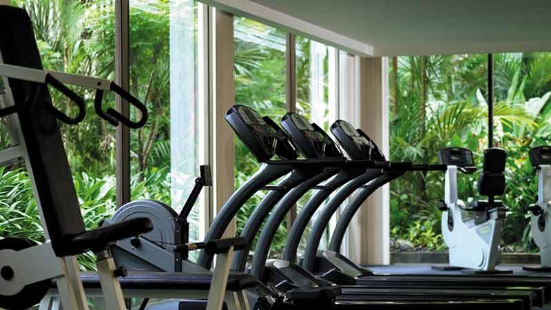 Fitness-Centre with three treadmills at the Shangri-La-Hotel,Kuala-Lumpur