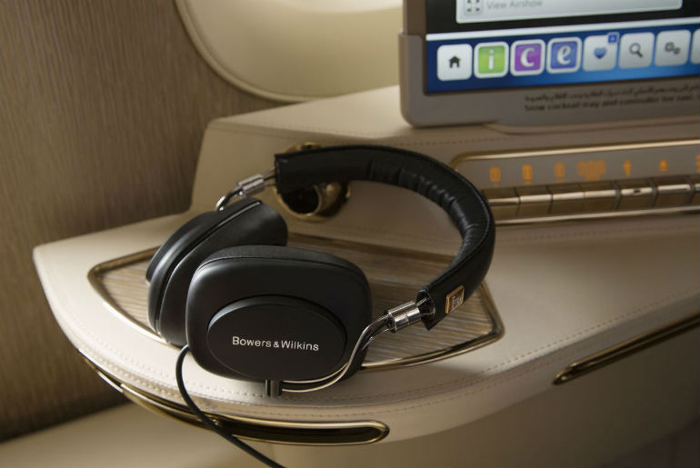 Bowers & Wilkins PX headphones that first class passengers have exclusive access