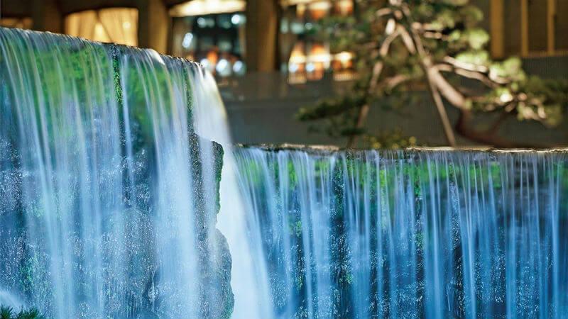 waterfall with background lighting, Hotel New Otani Tokyo