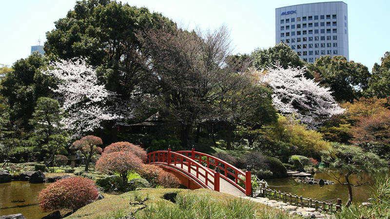 gardens with bridge over water, Hotel New Otani Tokyo