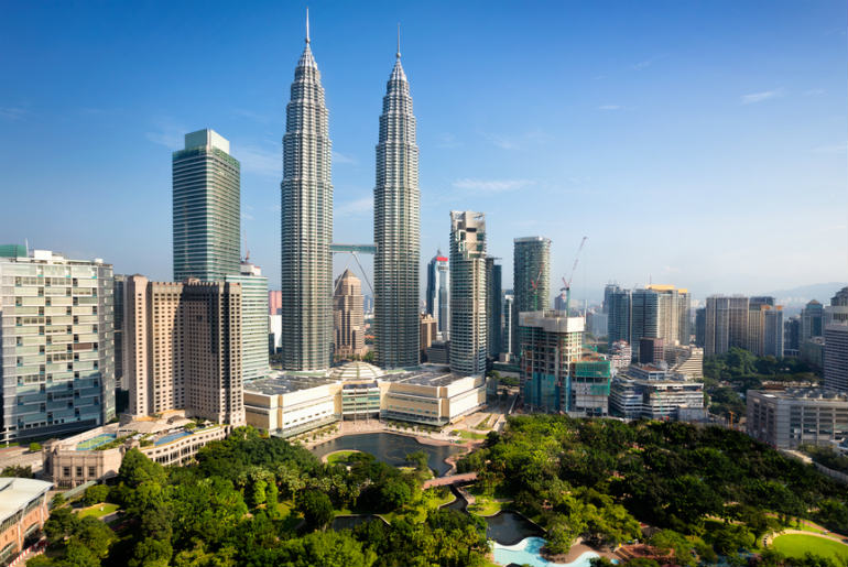 Kuala Lumpur city centre with a view of the Petronas towers
