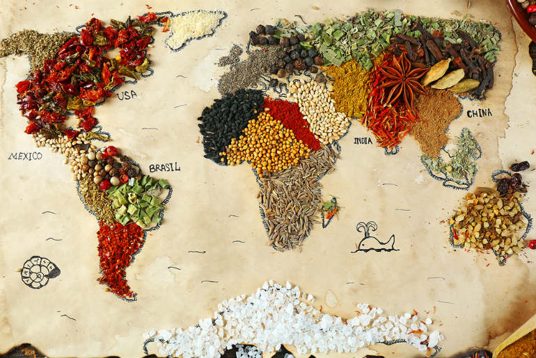 Map of the world made out of different spices