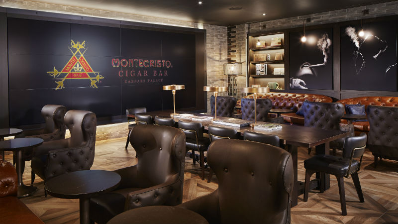 Leather chairs in Montecristo Cigar Bar at Caesars Palace Las Vegas