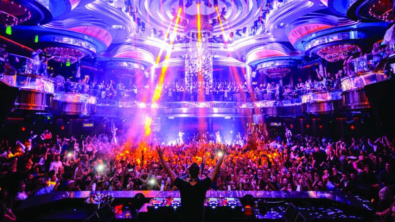 Crowd behind a DJ at Omnia Nightclub in Caesars Palace Las Vegas