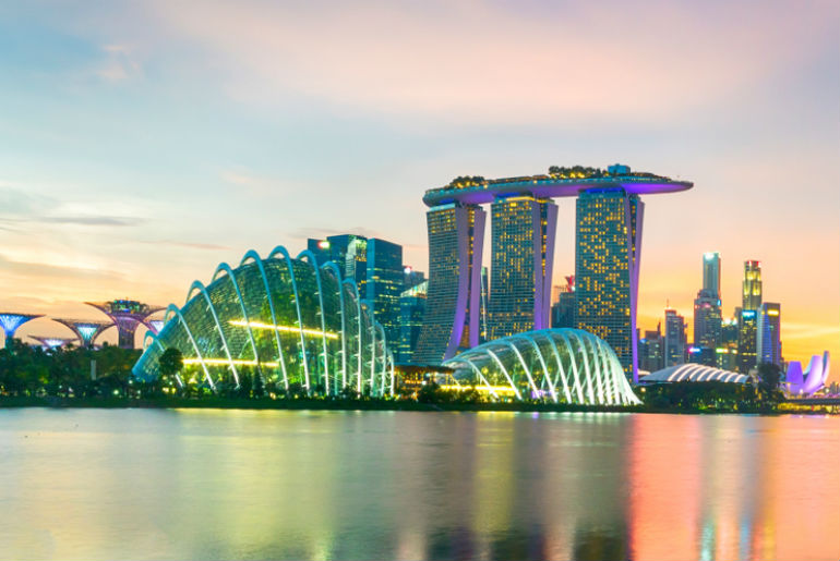 Singapore sunset skyline with a view from the river