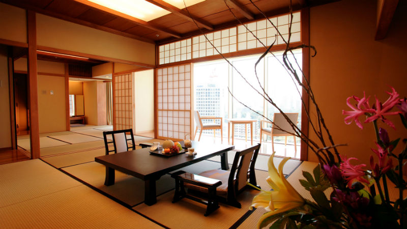 The Main Japanese suite -at the New Otani Tokyo Hotel showing a authentic Japanese room
