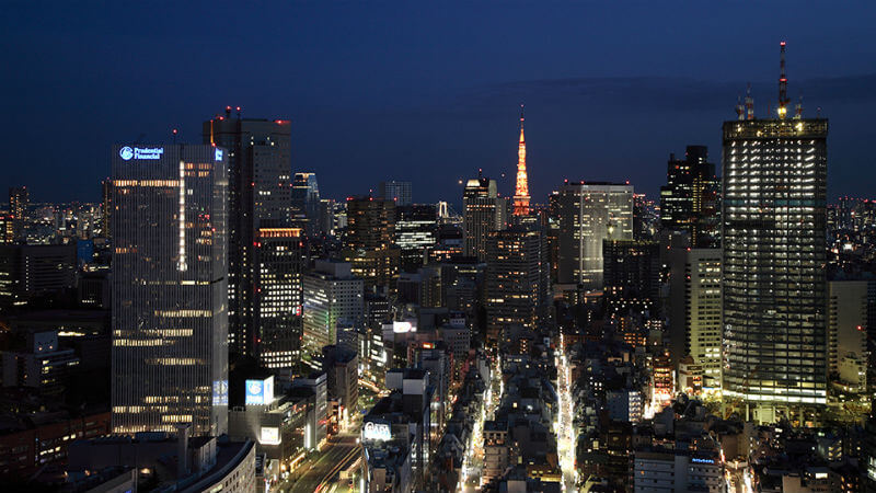 Night time view of Japan, Hotel New Otani Tokyo
