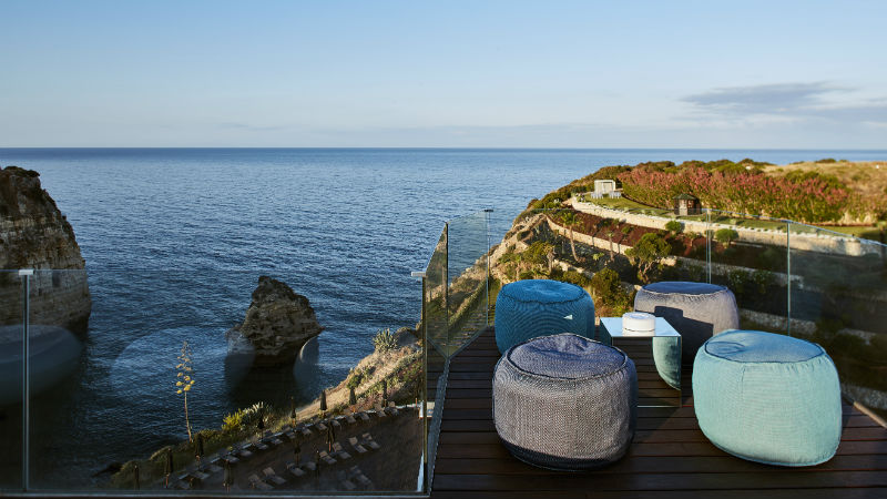 Sky Bar at the Tivoli Carvoeiro Algarve Resort showing 4 comfy bean bag seats