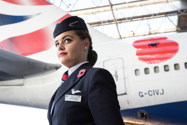 British Airways Proudly Unveils a Poppy Decal on a Boeing 747