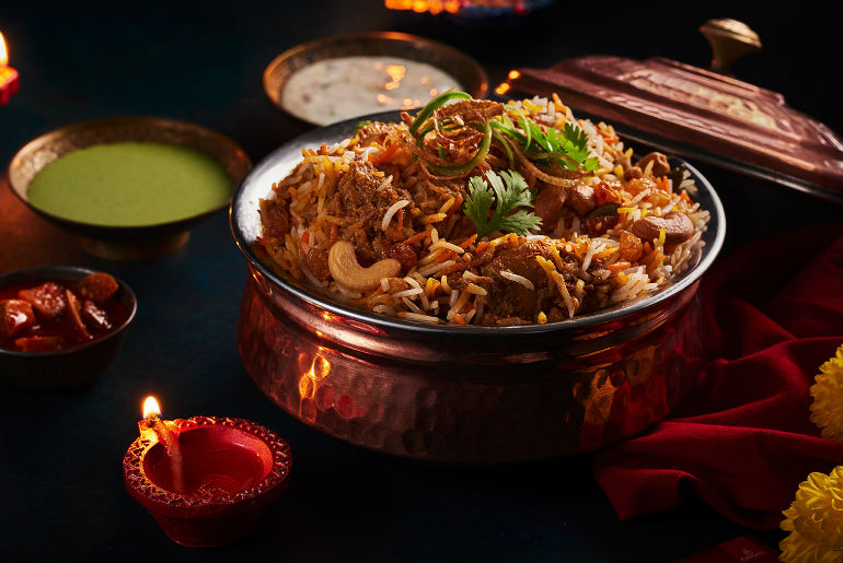 Indian rice dish served in copper pot